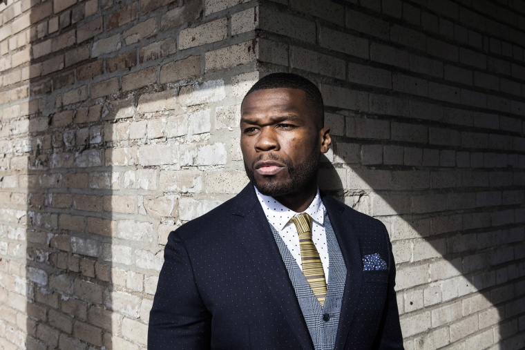 Curtis Jackson, better known as the rapper 50 Cent, on the roof of the G-Unit offices in N.Y. on April 29, 2015. (Photo by Alex Welsh/The New York Times/Redux)