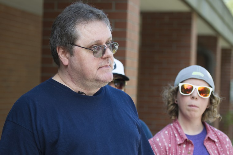 David Veatch, father of Bellingham High student Autumn Veatch, 16, talks to the media at the Civil Air Patrol station at Bellingham International Airport in Bellingham, Wash., July 13, 2015. (Photo by Philip A. Dwyer/The Bellingham Herald/AP)