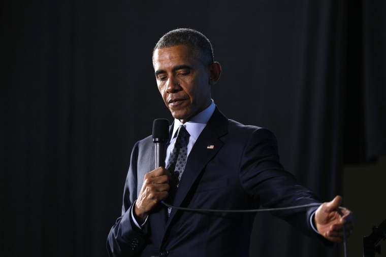 President Barack Obama pauses while speaking during an event in Ohio March 18, 2015. (Photo by Kevin Lamarque/Reuters)