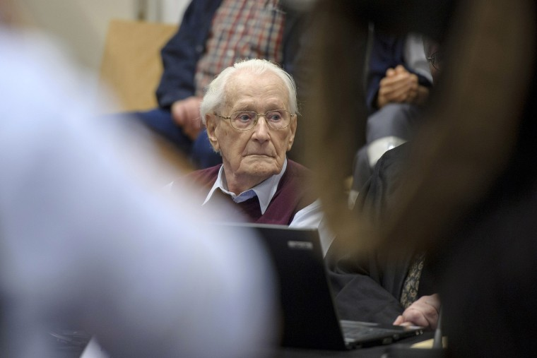 Oskar Groening, 94, a former member of the Waffen-SS who worked at the Auschwitz concentration camp during World War II, awaits the verdict in his trial on July 15, 2015 in Lueneburg, Germany. (Photo by Hans-Jurgen Wege/Pool/Getty)