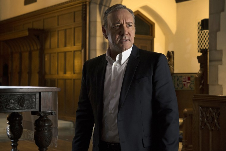"""In this image released by Netflix, Kevin Spacey appears in a scene from \""""House of Cards.\"""" Spacey was nominated for an Emmy Award for outstanding lead actor in a drama series for his role on the show on Thursday, July 16, 2015."""
