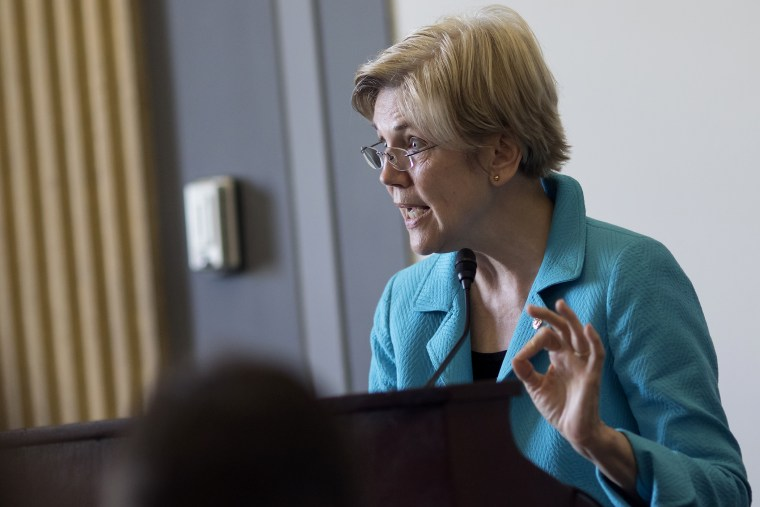 Sen. Elizabeth Warren, D-Mass., gives the closing address during the fifth anniversary event of the Dodd-Frank financial reforms, sponsored by the Americans for Financial Reform on Capitol Hill in Washington, July 14, 2015.