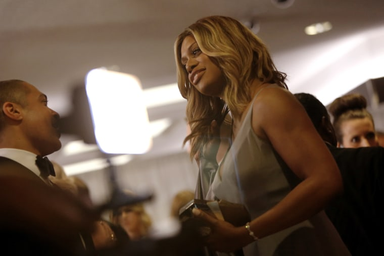 Actress Laverne Cox arrives for the annual White House Correspondents' Association dinner in Washington April 25, 2015. (Photo by Jonathan Ernst/Reuters)