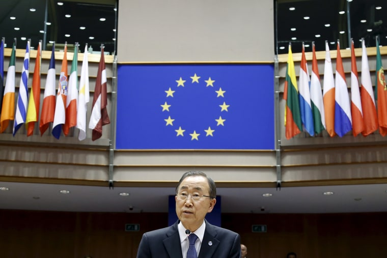 U.N. Secretary-General Ban Ki-moon addresses a plenary session of the EU Parliament in Brussels.