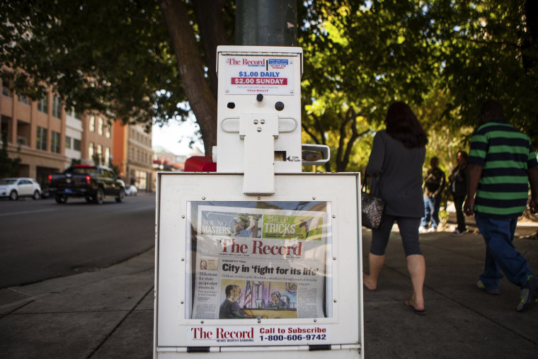 The Stockton Record newspaper in a downtown newsstand on May 13, 2014. (Photo by Max Whittaker/Reuters)
