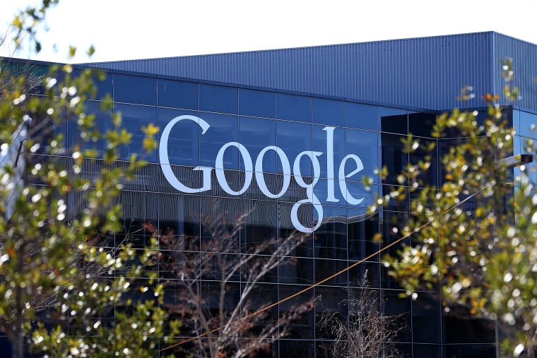 A sign is posted on the exterior of Google headquarters on Jan. 30, 2014 in Mountain View, Calif. (Photo by Justin Sullivan/Getty)