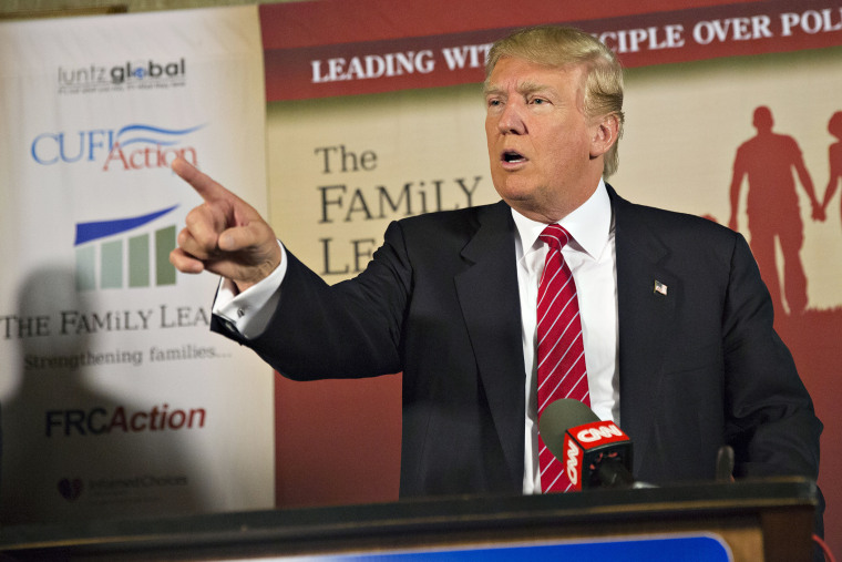 Donald Trump speaks during a press conference at The Family Leadership Summit in Ames, Iowa on July 18, 2015. (Photo by Daniel Acker/Bloomberg/Getty)