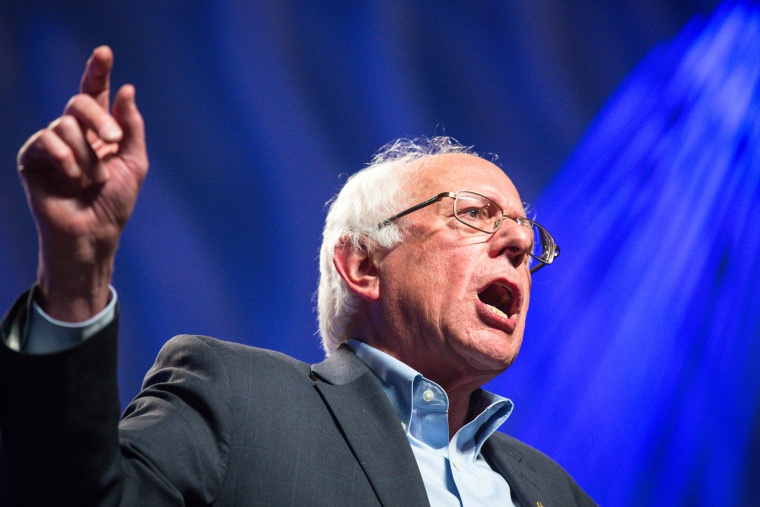 Sen. Bernie Sanders addresses hecklers and supporters at the Netroots Nation 2015 Presidential Town Hall in the Phoenix Convention Center on July 18, 2015 in Phoenix, Ariz. (Photo by Charlie Leight/Getty)