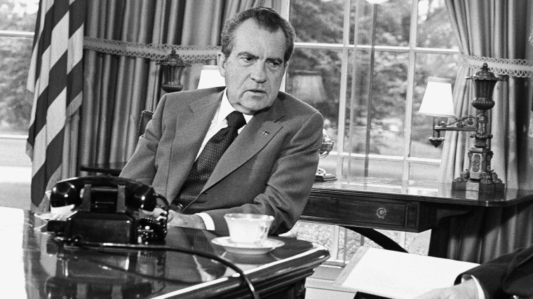 President Richard Nixon is pictured at the White House in Washington, D.C., Oct. 8, 1973. (Photo by Harvey George/AP)
