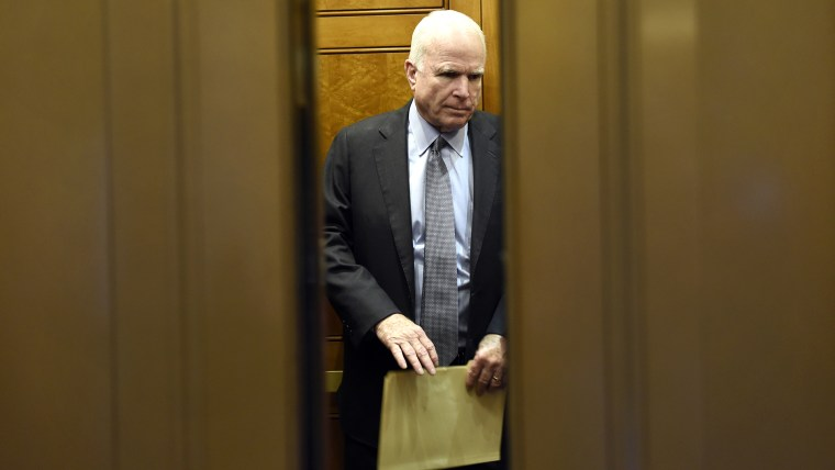 Senate Armed Services Committee Chairman Sen. John McCain, R-Ariz., gets on an elevator after being on the Senate floor on Capitol Hill in Washington, D.C., June 4, 2015. (Photo by Susan Walsh/AP)