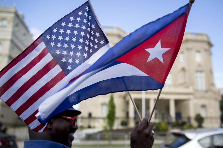 U.S. & Cuba Formally Restore Diplomatic Relations, Open Embassies (Photo by Andrew Harrer/Bloomberg/Getty).