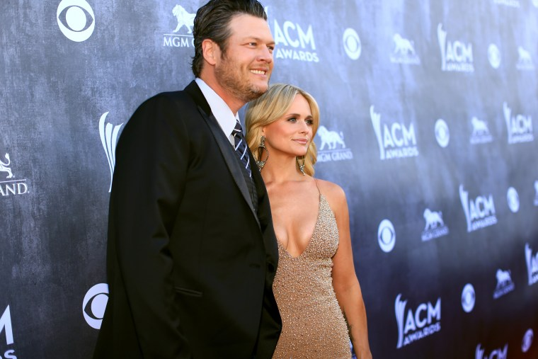 Recording artists Blake Shelton and Miranda Lambert attend the 49th Annual Academy of Country Music Awards at the MGM Grand Garden Arena on April 6, 2014 in Las Vegas, Nev. (Photo by Christopher Polk/ACMA2014/Getty)