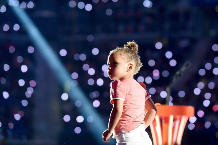 Riley Curry speaks onstage at the Nickelodeon Kids' Choice Sports Awards 2015 (Photo by Michael Buckner/KCSports2015/Getty).