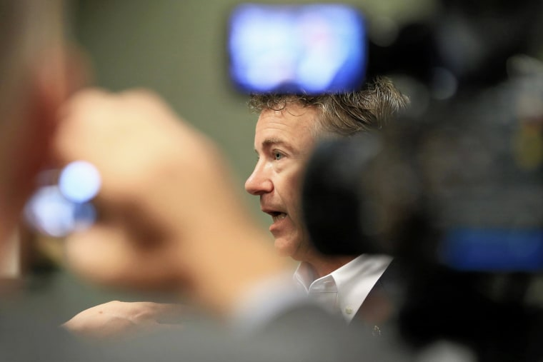 Republican presidential candidate, Sen. Rand Paul, R-Ky., speaks to the media following a meet and greet event in Council Bluffs, Iowa, July 1, 2015. (Photo by Nati Harnik/AP)