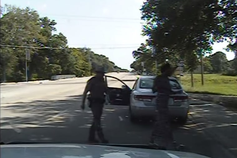 A still from a police dashcam video showing Sandra Bland's arrest. (Texas Department of Public Safety/YouTube)