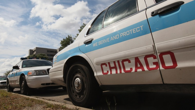 Chicago police cars, sit outside a police station Sept. 8, 2011 in Chicago, Ill. (Photo by Scott Olson/Getty)