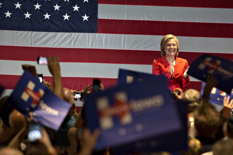 Democratic Presidential Candidate Hillary Clinton Campaigns in Iowa (Photo by Daniel Acker/Bloomberg/Getty).
