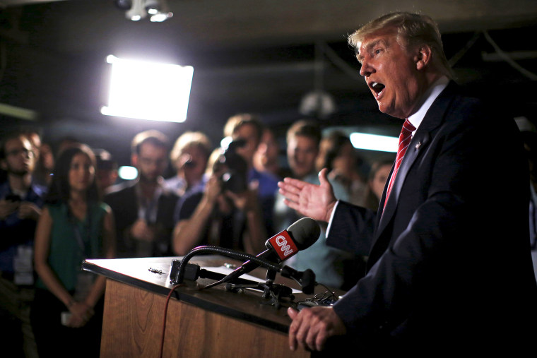U.S. Republican presidential candidate Donald Trump speaks at a news conference at the Family Leadership Summit in Ames, Iowa, United States, July 18, 2015. (Photo by Jim Young/Reuters)