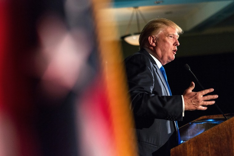 Donald Trump speaks during the Republican Society Patriot Dinner at the Citadel Military College on Feb. 22, 2015 in Charleston, S.C. (Photo by Richard Ellis/Getty)