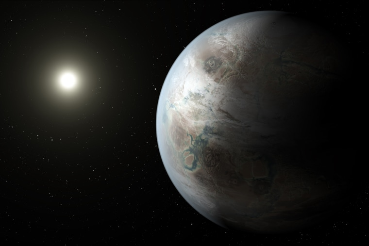 An artist's concept depicts one possible appearance of the planet Kepler-452b.