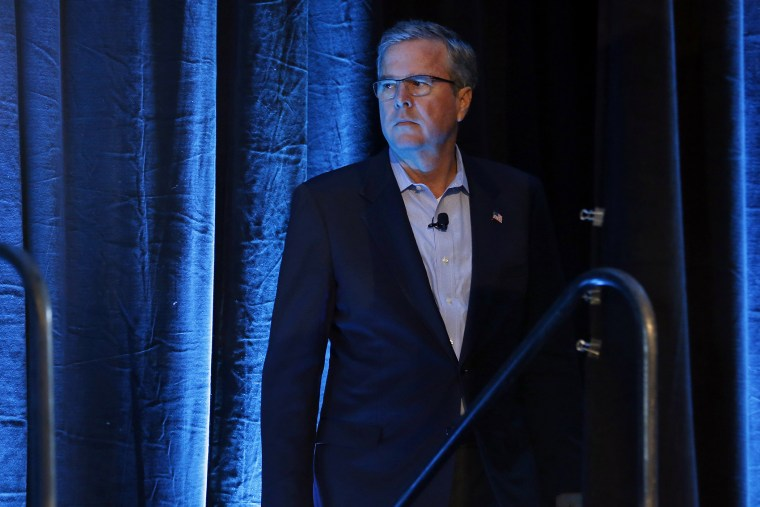 Former Governor of Florida Jeb Bush waits for his introduction at the Iowa Agriculture Summit in Des Moines, Iowa, March 7, 2015. (Photo by Jim Young/Reuters)