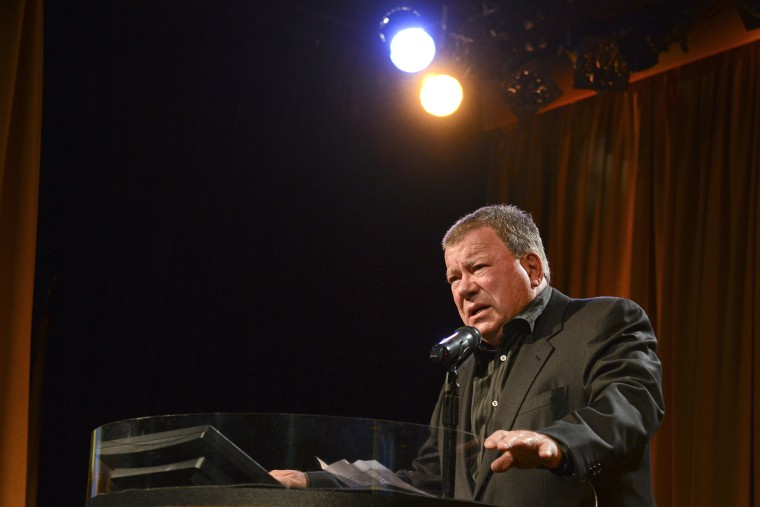 Actor William Shatner speaks at the 12th Annual Heller Awards at The Beverly Hilton Hotel on September 19, 2013 in Beverly Hills, Calif. (Photo by Vivien Killilea/WireImage/Getty)