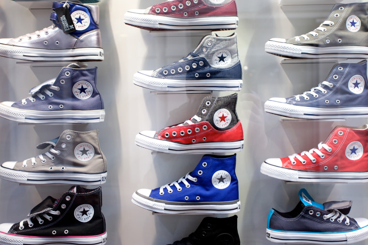 Converse boots in shop window on Carnaby Street, London. (Photo by PYMCA/UIG/Getty)