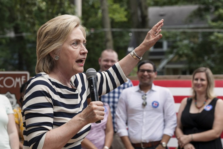 Presidential candidate Hillary Clinton speaks to supporters in the Beaverdale area of Des Moines, Iowa on July 25, 2015. (Photo by Brian Frank/Reuters)