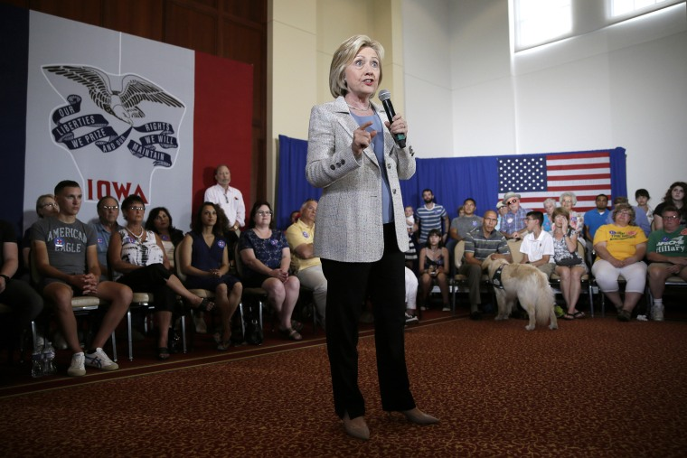 Democratic presidential candidate Hillary Rodham Clinton speaks during a campaign event on July 26, 2015, at Iowa State University in Ames, Iowa. (Photo by Charlie Neibergall/AP)