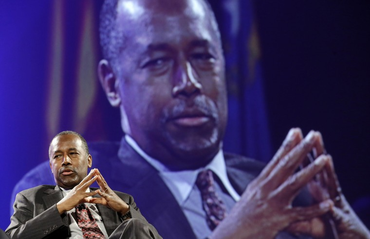 Republican presidential candidate Ben Carson speaks at the National Sheriffs' Association presidential forum, June 30, 2015, in Baltimore. (Photo by Patrick Semansky/AP)