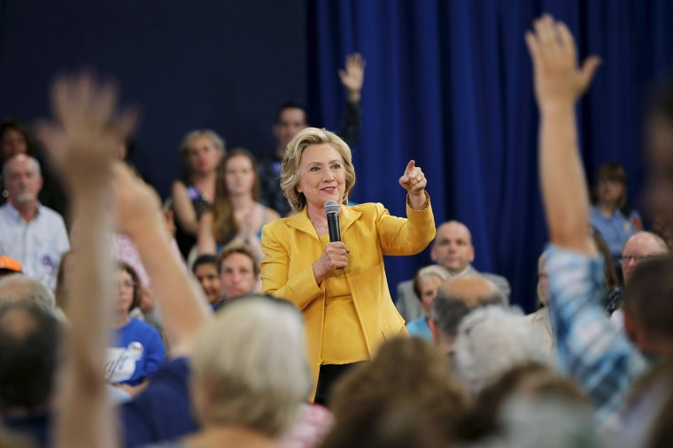 Democratic presidential candidate Hillary Clinton takes a question from the audience during a town hall campaign stop in Nashua, N.H., July 28, 2015. (Photo by Brian Snyder/Reuters)