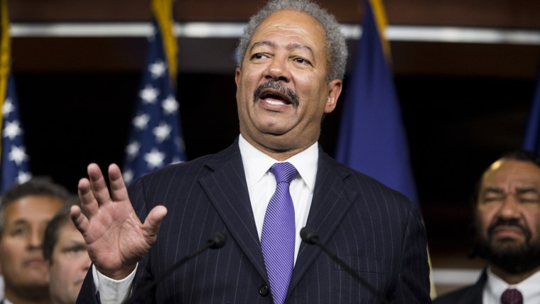 Rep. Chaka Fattah, speaks as House Democrats hold a news conference to call for presidential action on immigration on Nov. 13, 2014. (Photo by Bill Clark/CQ Roll Call/Getty).