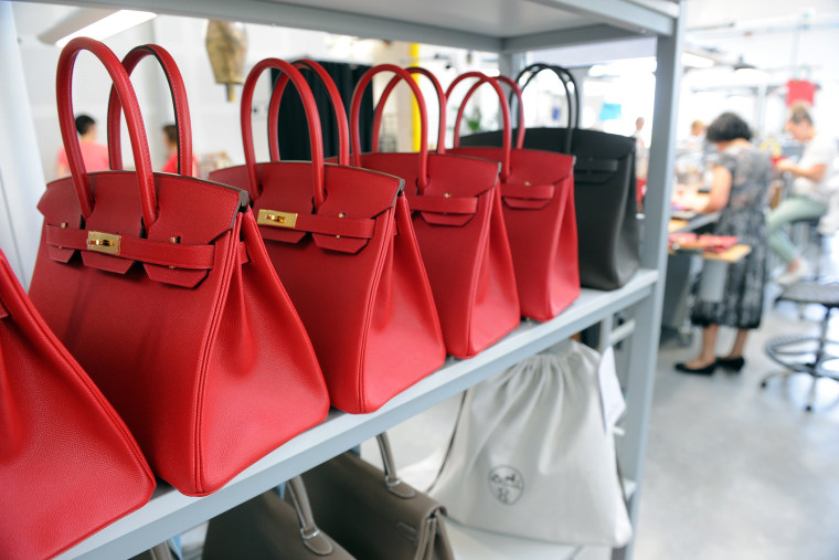 A photo taken on June 11, 2015 shows Hermes Birkin bags. (Photo by Mehdi Fedouach/AFP/Getty)