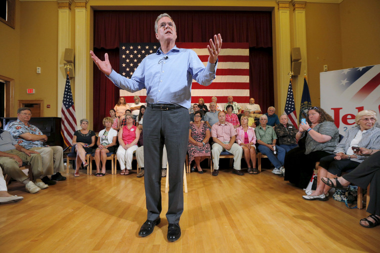 Republican presidential candidate Jeb Bush speaks during a town hall meeting campaign stop at the Medallion Opera House in Gorham, Massachusetts July 23, 2015. (Photo by Brian Snyder/Reuters).