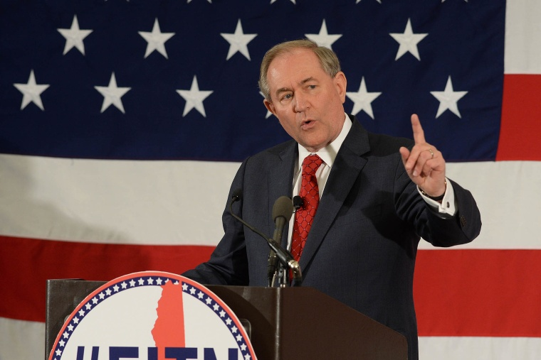 Former Virginia Gov. Jim Gilmore speaks at the First in the Nation Republican Leadership Summit (Photo by Darren McCollester/Getty).