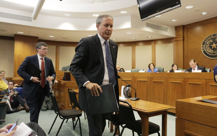 Texas attorney general Ken Paxton departing after testifying at a Texas Texas Senate Health and Human Services Committee hearing on Planned Parenthood videos covertly recorded that target the abortion provider, July 29, 2015. (Photo by Eric Gay/AP)