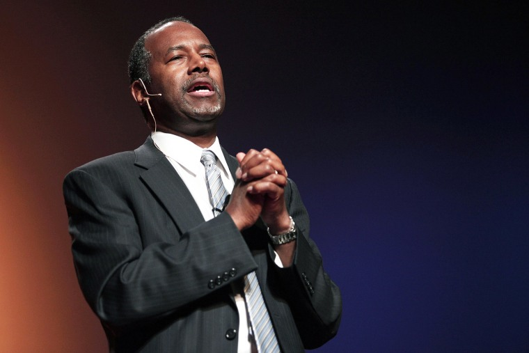 Dr. Ben Carson, a retired pediatric neurosurgeon, speaks as he officially announces his candidacy for President of the United States at the Music Hall Center for the Performing Arts May 4, 2015 in Detroit, Mich. (Photo by Bill Pugliano/Getty)