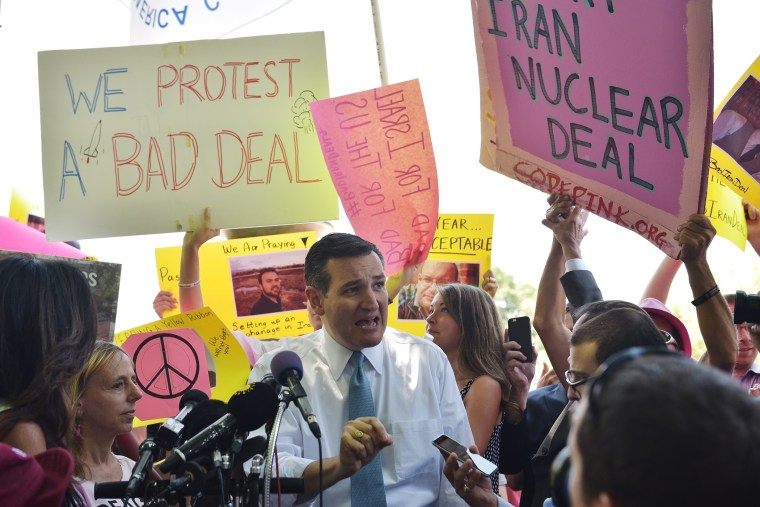 Presidential hopeful, US Senator Ted Cruz, R-TX, speaks on the Iran nuclear deal in Lafayette Square, across from the White House, on July 23, 2015 in Washington, DC. (Photo by Mandel Ngan/AFP/Getty)