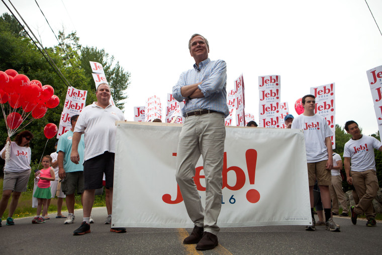 Republican Presidential Candidate Jeb Bush Campaigns In New Hampshire On July 4th. (Photo by Kayana Szymczak/Getty)