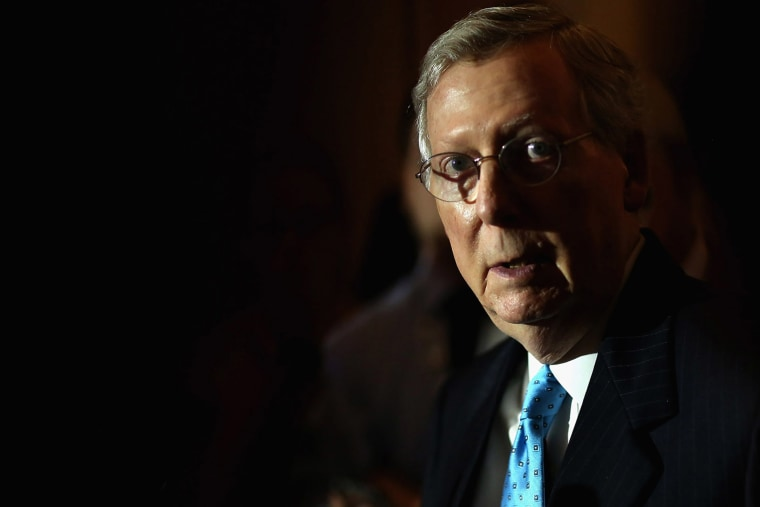 WASHINGTON, DC - AUGUST 04: Senate Majority Leader Mitch McConnell (R-KY) talks with reporters reporters after the weekly Senate Republican policy luncheon at the U.S. Capitol August 4, 2015 in Washington, DC. (Photo by Chip Somodevilla/Getty)