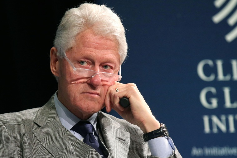 Former President Bill Clinton listens during a plenary session at the Clinton Global Initiative Winter Meeting on Feb. 10, 2015 in N.Y. (Photo by Greg Allen/Invision/AP)