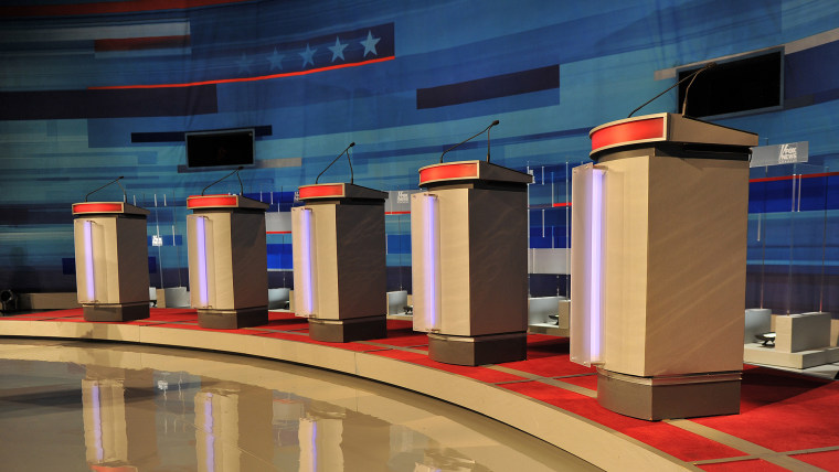Podiums stand empty prior to the start of a South Carolina Republican presidential debate in Myrtle Beach, S.C. on Jan. 16, 2012 (