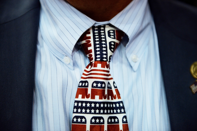 A tie decorated with elephant mascots at the Republican National Convention (RNC) in Tampa, Fla. (Photo by Daniel Acker/Bloomberg/Getty)