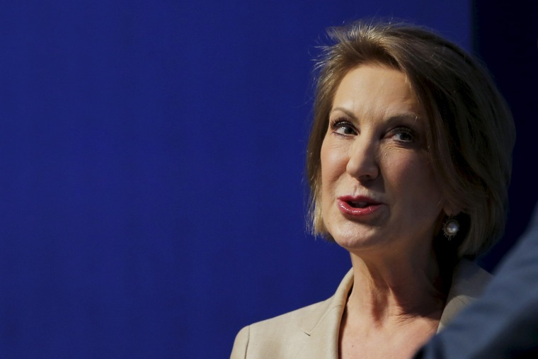Republican presidential candidate Carly Fiorina speaks at the Sirius XM presidential candidate forum during the Republican National Committee (RNC) summer meeting in Cleveland, Ohio on Aug. 5, 2015. (Photo by Brian Snyder/Reuters)