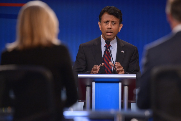 Republican presidential hopeful Bobby Jindal speaks during the Republican presidential primary debate on Aug. 6, 2015 at the Quicken Loans Arena in Cleveland, Ohio. (Photo by Mandel Ngan/AFP/Getty)