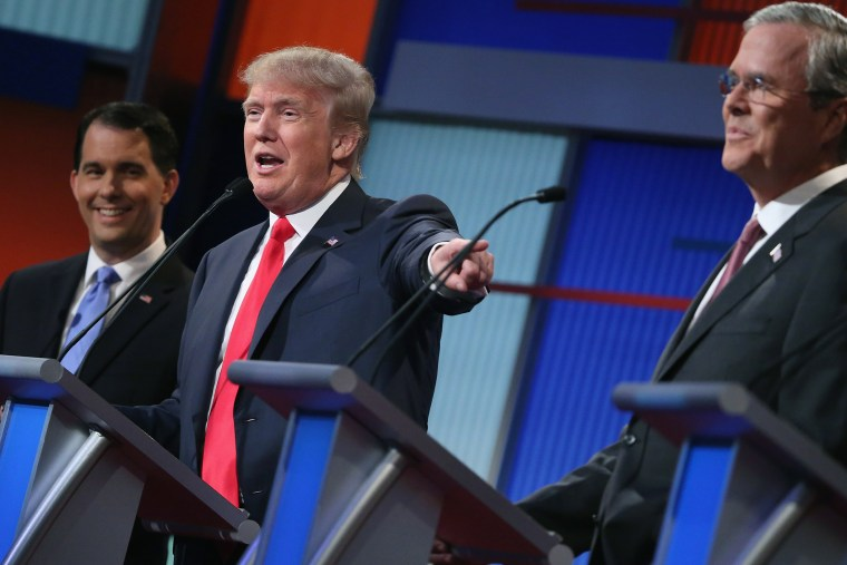 Republican presidential candidates participate in the first prime-time presidential debate hosted by FOX News and Facebook at the Quicken Loans Arena on Aug. 6, 2015 in Cleveland, Ohio. (Photo by Scott Olson/Getty)