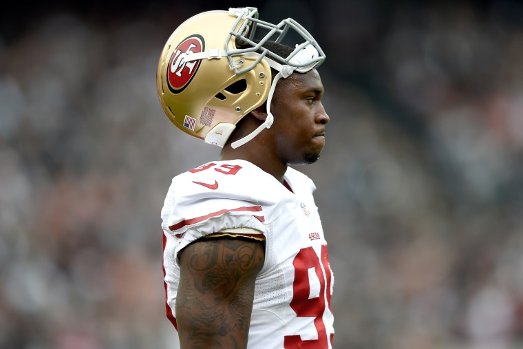 Aldon Smith #99 of the San Francisco 49ers (Photo by Thearon W. Henderson/Getty).