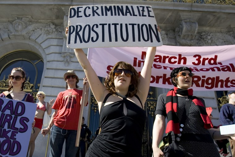 Sex workers and their supporters protest in front of City Hall in celebration of International Sex Workers' Rights Day in San Francisco (Photo by Kimberly White/Reuters).