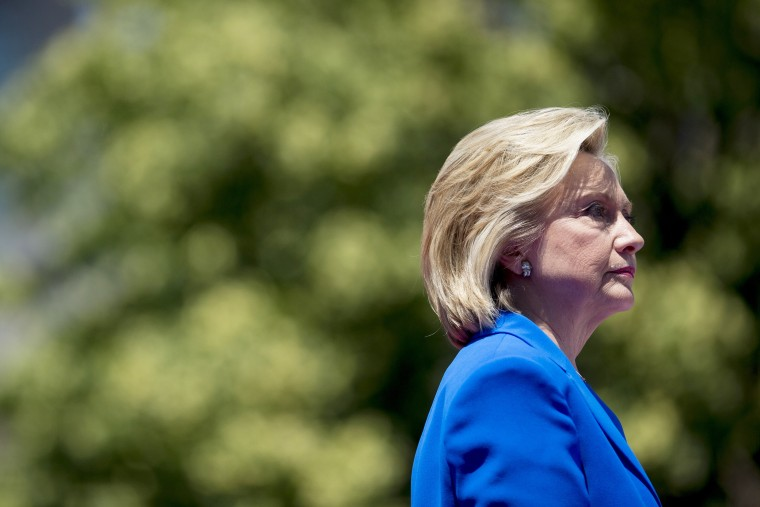 Hillary Clinton pauses while speaking at her first campaign rally at Four Freedoms Park on Roosevelt Island in N.Y. on June 13, 2015. (Photo by Andrew Harrer/Bloomberg/Getty)