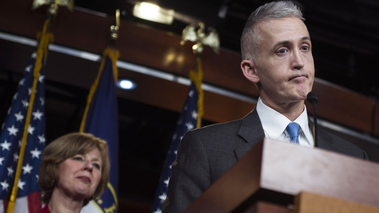Chairman Trey Gowdy (R-SC) of the House Select Committee on Benghazi speaks to reporters. (Photo by Gabriella Demczuk/Getty)